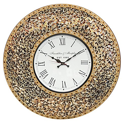 """- DecorShore 23"""" Decorative Wall Clock, Silent Clock with Decorative Glass Mosaic, Oversized Wall Clock (Name) (Golden Sands - Gold, Citrine & Chocolate Opal Look)"""