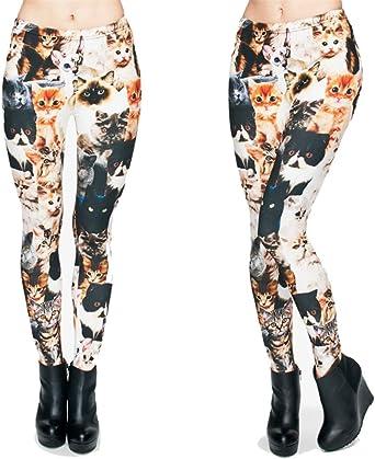 Moda Animal Formas Gatos Impresión Completa 3D Punk Mujeres Fit Pantalones Leggings Casuales Cats One Size: Amazon.es: Ropa y accesorios