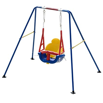 Costzon Toddler Swing Set High Back Seat With Safety Belt A Frame Outdoor Swing Chair Metal Swing Set For Backyard Yellow