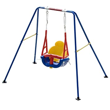 Amazon Com Costzon Toddler Swing Set High Back Seat With Safety
