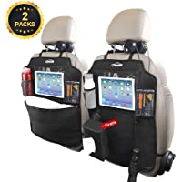 Oasser Protector de Asiento Kick Mats Universal Multi-Bolsillo Organizador para Asiento Trasero de Coche Sorporte para ipad Impermeable Fácil de limpiar 3px