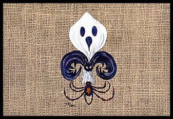24H X 36W Multicolor Caroline/'s Treasures Carolines Treasures 8749JMAT Halloween Ghost Spider Bat Fleur de lis Indoor or Outdoor Mat 24x36 Doormat