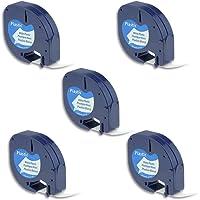 Airmall 5X Label Tape Cassette Equivalent Dymo LetraTag 91331 Compatible with Dymo LetraTag LT100H Plus QX50 Label Maker 12mm x 4m, Black on White Plastic Tape