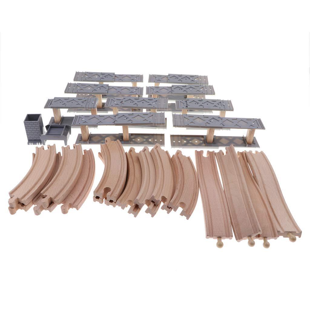 Spiral Tracks Assembling Kits MagiDeal Wooden Train Set Accessories Wooden Bridge Railway Set for Kids Educational Development Toy