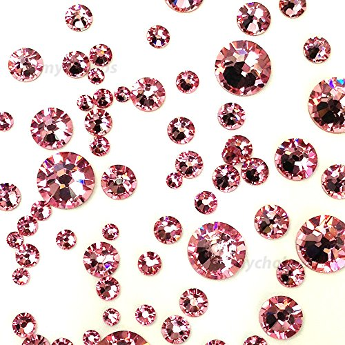 (LIGHT ROSE (223) pink 144 pcs Swarovski 2058/2088 Crystal Flatbacks pink rhinestones nail art mixed with Sizes ss5, ss7, ss9, ss12, ss16, ss20, ss30)