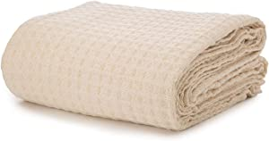 Waffle Weave Blanket - Organic Cotton Blanket - Soft Premium Cotton Waffle Thermal Blanket, Soft Premium, Perfect for Layering Bed, Soft Cozy Blanket, Natural Twin/Queen Cotton Blanket (70 x 65)