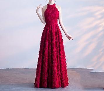 HDJJKSH Toast vestido largo vino rojo novia femenina vestido de novia de la puerta trasera vestido