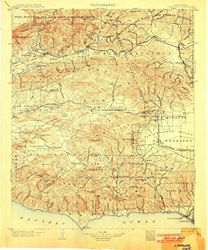 California Maps - 1903 Camulos, CA USGS Historical Topographic Map - Cartography Wall Art - 44in x ()