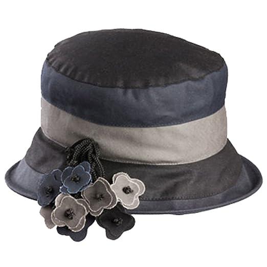 b6cc1d8fcda98 Olney Ruth Multicolored Ladies Waterproof Wax Hat (Black Grey) at ...