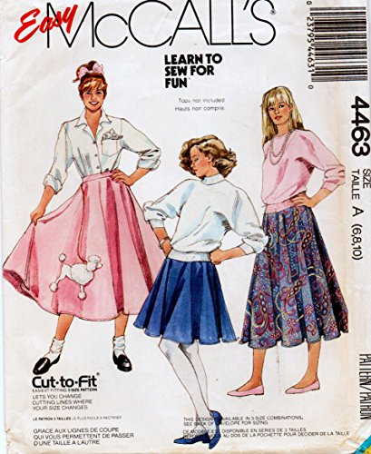 Mccalls 4463 Sewing Pattern Learn to Sew Pattern for Circular Skirt in Two Lengths with Poodle Applique Pattern Too (Skirt Sew Circular)