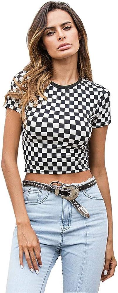 Nuevas Mujeres Primavera Verano Camiseta Delgada Negro Blanco Patrón De Tablero De Ajedrez A Cuadros Crop Tops Manga Corta Camiseta De Algodón: Amazon.es: Ropa y accesorios