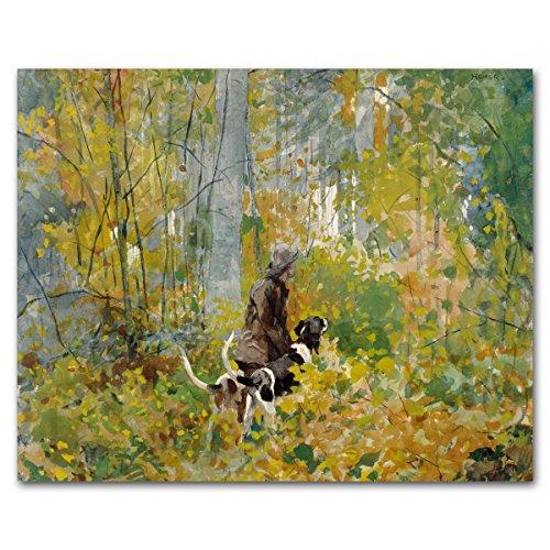 Forest Art (Winslow Homer, Autumn Woods Artwork, Hunting Dog Print, Museum Wall Decor) 1892