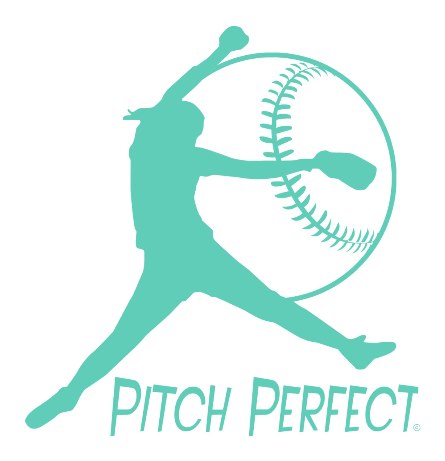 Pitch Perfect-Fastpitch Softball-Indoor Vinyl Wall Decal-Girls Softball-Unique Softball Gift-Young Girls Bedroom-Teenagers Playroom-Youth or College Women Softball Enthusiast-Softball Mom-MINT