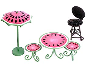 Snickerdoodle Smalls Miniature 4 Piece Watermelon Patio Furniture Set with Barbecue Grill for Doll House, Fairy Garden or Terrarium