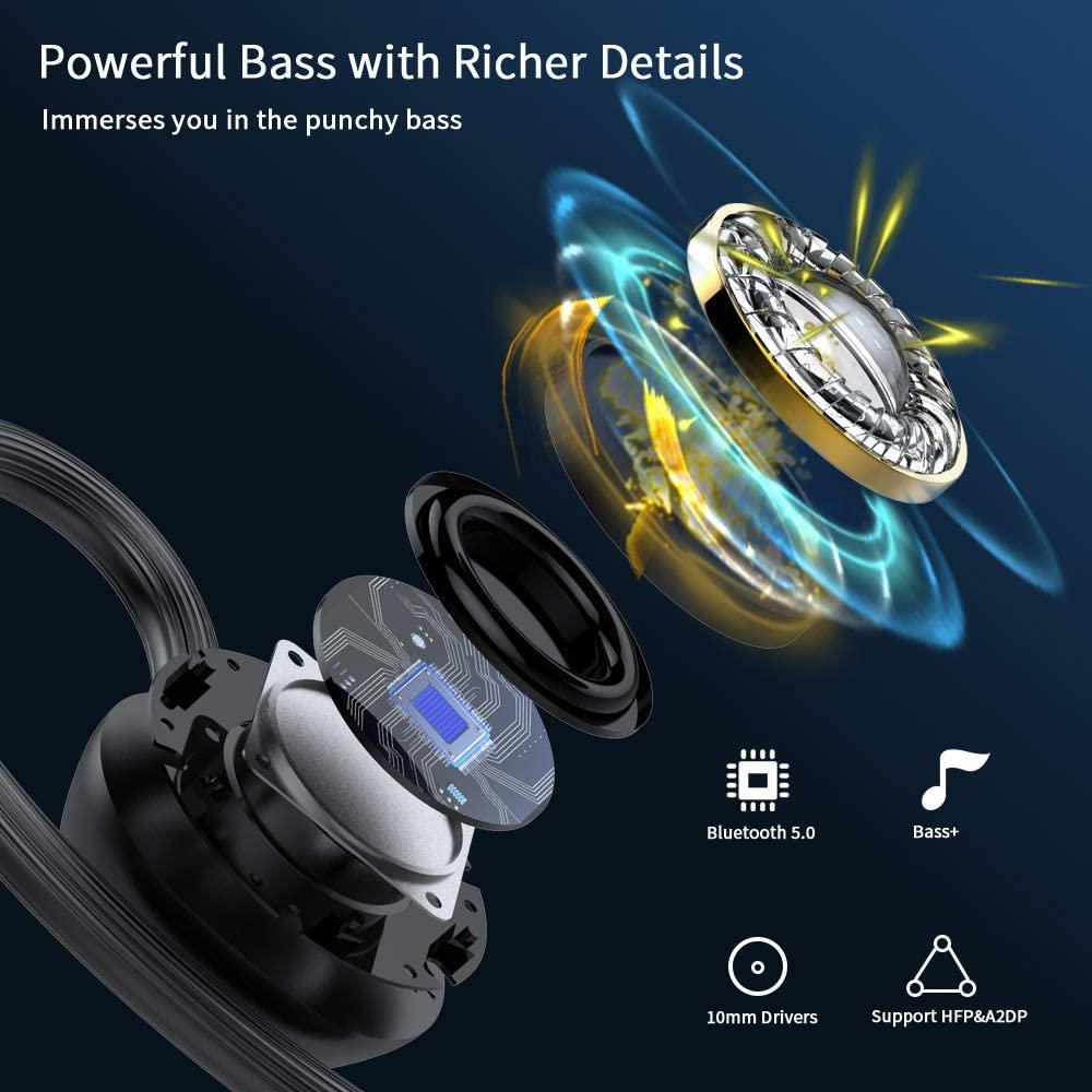 LYCHL Auriculares Inalambricos Deportivos, Auriculares Bluetooth 5.0 Sport IP7 Impermeable Cascos Bluetooth In-Ear Auriculares Wireless Running con ...