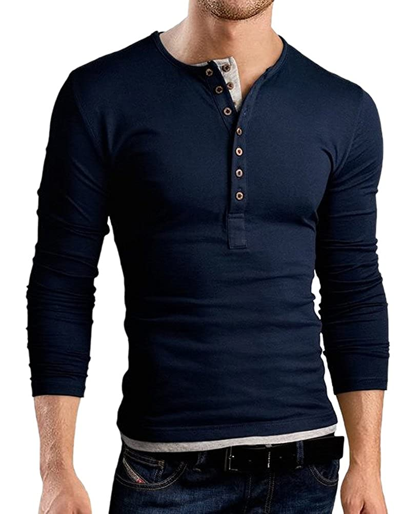 Mens Casual Polo Shirt Slim Fit V-neck Tee Long Sleeve Top T-shirt Blouse Sizes