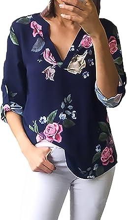 Camisas Mujer Verano Vintage Impresión Floral Tops Fiesta Elegantes Media Manga V Cuello Casual Fashion Bonita Camisa Blusas: Amazon.es: Ropa y accesorios