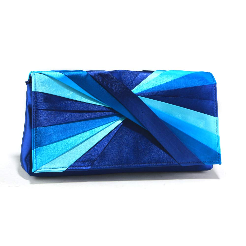 Woman Evening Bag Clutch Purse Multicolor Pleated Satin Party Handbag