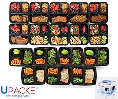 Upacke Bento Box Lunch Box,12 Pack, 3-compartment Microwave Safe Personal and Commercial Food Container with Lid, Durable Lunch Tray with Cover, Along with Bonus 12 Cutlery Sets Each of Spoons, Knives, Forks and Bento Box Cookbook Ebook