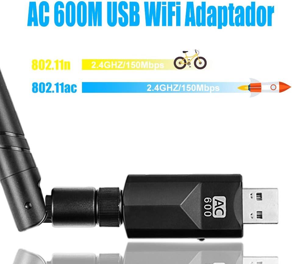 Vasco WiFi Antena USB Adaptador AC600Mpbs, WiFi Dongle 5dBi Driver Free-Auto Dual Band 2.4GHz/5GHz 802.11ac para Desktop/Laptop/PC WiFi Receptor ...