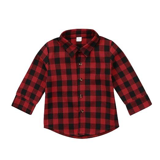 b3df1f3a0 Toddler Plaid Tops Baby Boy Girls Long Sleeve Button Down Shirt Spring  Autumn Shirt(90