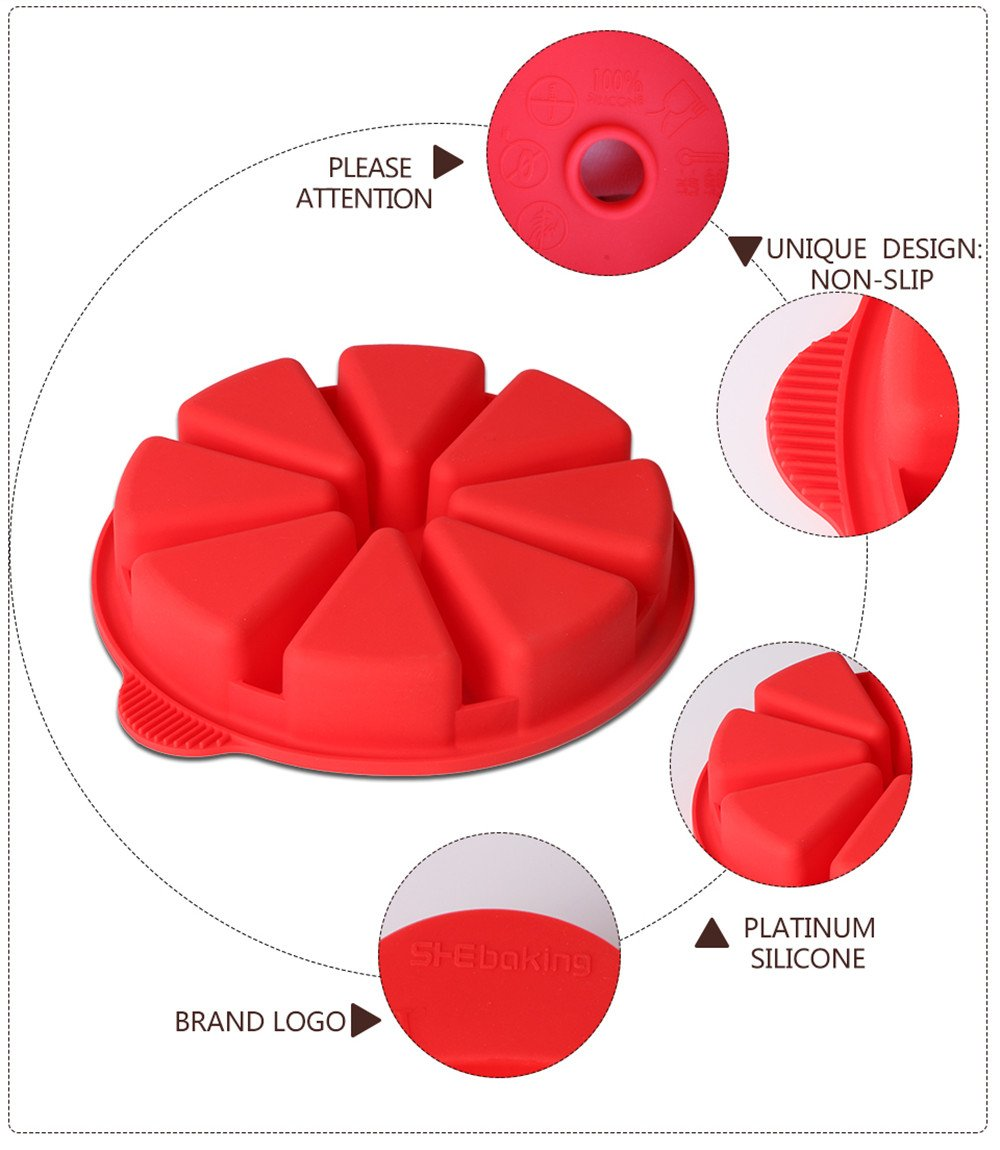 Baking Molds Triangle Cavity Silicone 8 Red Silicone Portion Cake Mold Soap Mould Pizza Slices Pan by SHEbaking (Image #3)