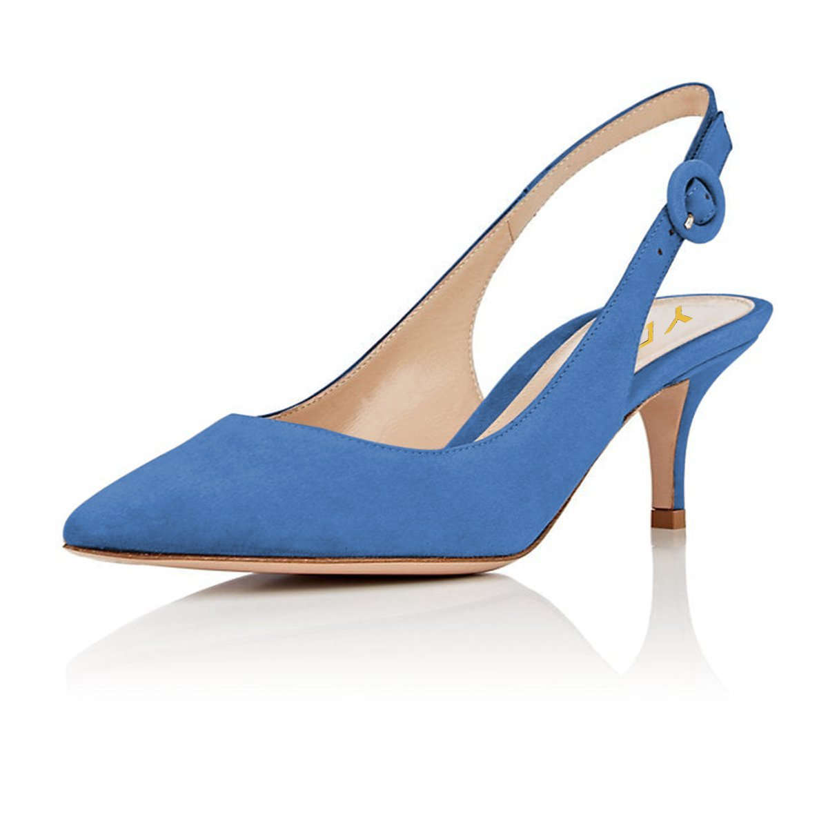 YDN Womens Kitten Low Heels Office Pumps Pointed Toe Leopard Print Comfy Shoes with Slingback Blue 9.5