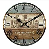 Vintage Wall Clock Rustic Shabby Chic Home Kitchen Wooden 30cm Decor #8
