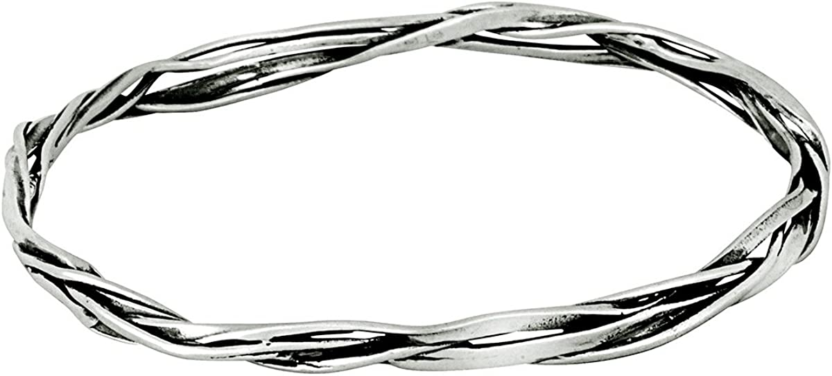 Paz Creations 925 Sterling Silver Textured Twisted Bangle