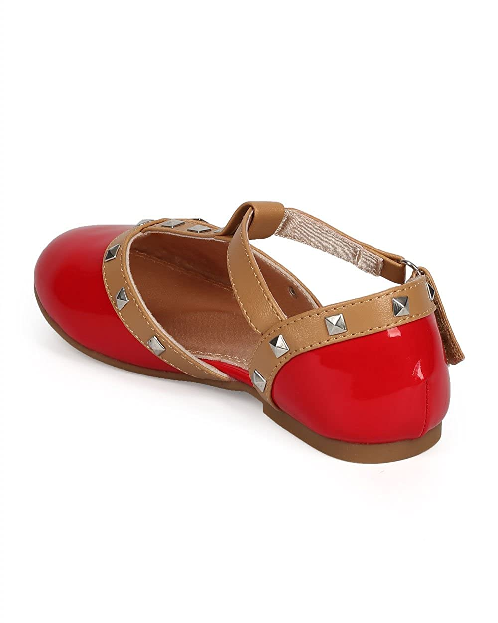 Little Girl//Big Girl Alrisco Patent Round Toe Studded T-Strap Dorsay Ballet Flat DH98 Jelly Beans