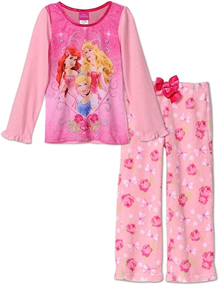 Sizes 4-10 Disney Princess Long-Sleeve Girls Pajama Set With Plush Pants
