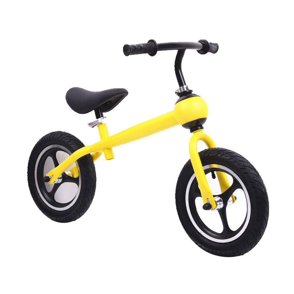子供のスクーターペダルなしバギーのスクーターバランス車子供二輪車の自転車子供スクーター2ラウンドウォーカー12インチ2歳から6歳 B07F59S1N5イエロー いえろ゜