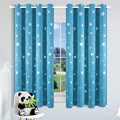 Kotile Star Curtains for Boys Room - 63 Inches Length 2 Panels, Silver  Stars Print Grommet Thermal Insulated Room Darkening Curtain Panel, Sky Blue