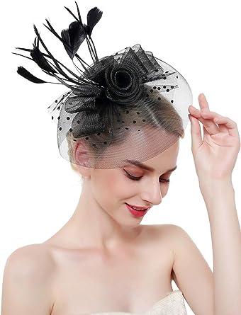 edited Women Retro Feather Mesh Veil Headpiece Flower Bridal Veil Fascinators
