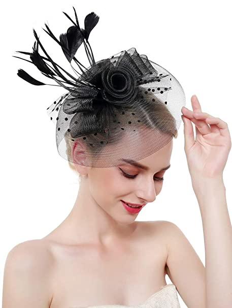 422fdf191e117 Z X Fascinator Hats for Women Mesh Flower Feather Wedding Party Hat with Headband  Clip Black