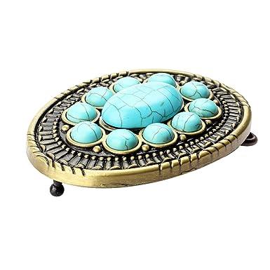 ba9834d4cbb Gazechimp Boucle de Ceinture Vintage Ovale en Pierres Turquoise pour Homme  Cowboy Western - Bleu