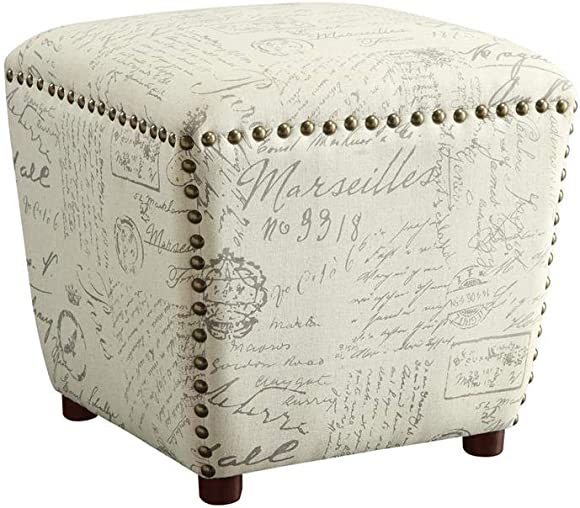 Upholstered Ottoman with Nailhead Trim Off White