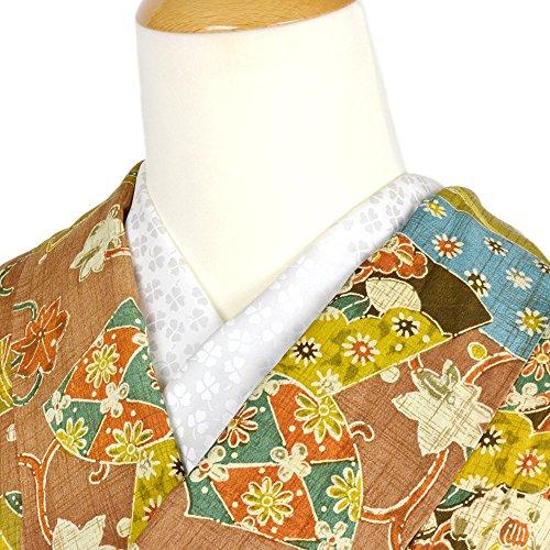 洗える地紋半衿 白半襟 クローバー