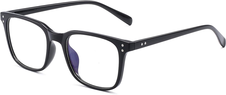 Gafas de Vista Bloqueo Luz Azul Computadora Ordenador Anti Rayo Azul Filtro Para Mujer Hombre Anteojos Cuadrado Reduce Fatiga Visual Negro