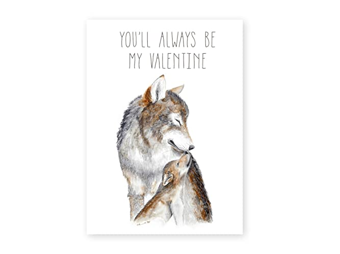 Amazoncom Wolf Card for Mom on Valentines Day Mother and Baby