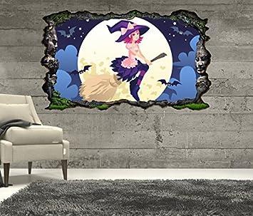 3d Wandtattoo Kinderzimmer Cartoon Hexe Hexenbesen Fledermause Mond