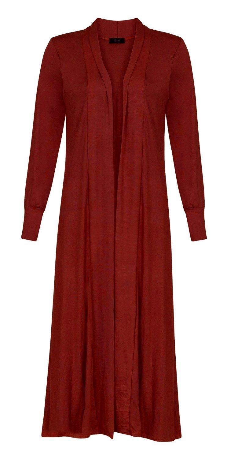 Forever Womens Long Sleeves Plain Boyfriend Long Open Maxi Cardigan Made in UK