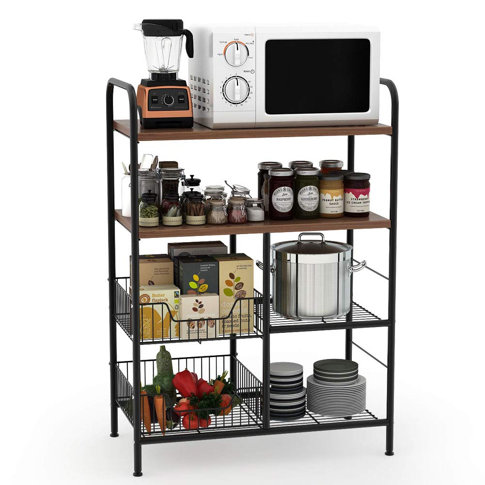 Tribesigns Kitchen Baker's Rack, 4-Tier Utility Storage Shelf, Microwave Oven Stand Rack with Wire Basket for Spice Rack Organizer Workstation by Tribesigns