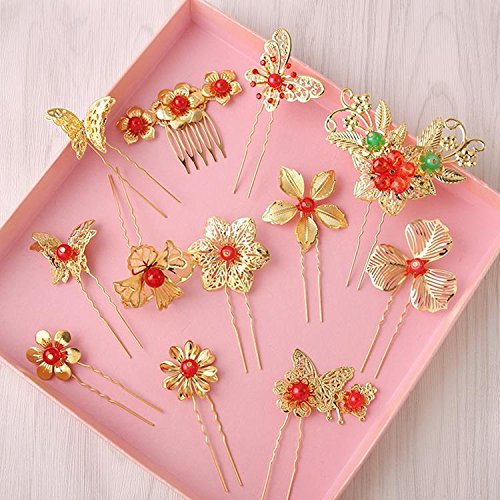 Bridal headdress golden hairpin little -type pin red rose classical Bob cheongsam dress costume accessories for women girl (Pick A Little Ladies Costumes)