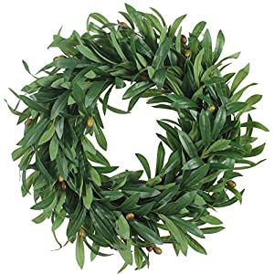 Duovlo 20'' Artificial Lush Olive Wreath Leaves Decoration Greenery Boxwood Wreath Hanging Flower Arrangment 63