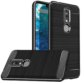 Dretal Nokia 7.1 Case, Dretal Flexible Shock Resistant Brushed Texture Soft TPU Protective Cover for Nokia 7.1 (Black)