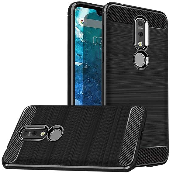 free shipping 28310 3b98d Dretal Nokia 7.1 Case, Dretal Flexible Shock Resistant Brushed Texture Soft  TPU Protective Cover for Nokia 7.1 (Black)