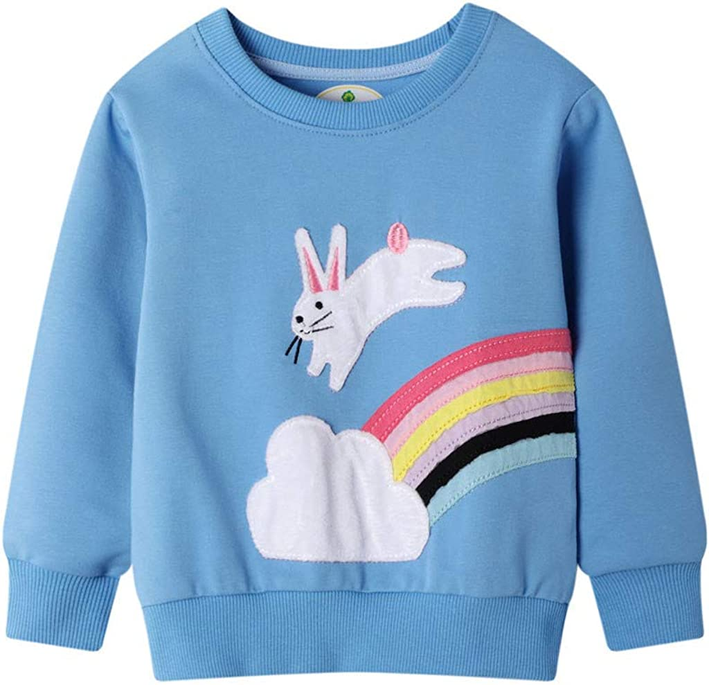 Toddler Boy Girl Rainbow Sweatshirt Kids Long Sleeve Shirt Top Crewneck Cotton Pullover Cartoon Graphic T-Shirt Outwear
