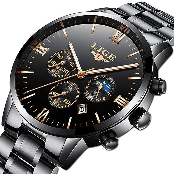 9a3102eb05 Orologi da uomo LIGE in acciaio inox nero classico di lusso orologi da uomo  d'