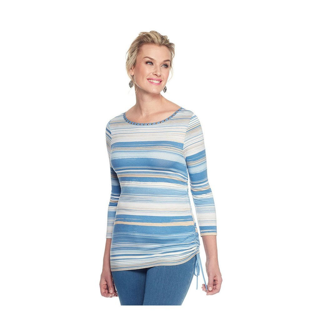 Ruby Rd Must Haves II 3/4 Sleeve Embellished Fine Line Top Lake Blue Multi PXL